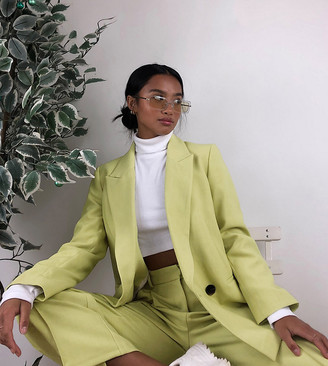 Topshop Petite oversized blazer in lime green