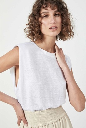 Witchery Linen Shoulder Pad Tank