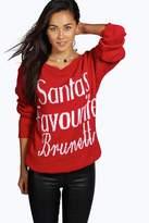 Boohoo Ruby Santa's Favourite Brunette Slash Neck Christmas Jumper red