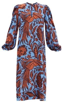 Johanna Ortiz Indus Valley Printed Silk Maxi Dress - Blue