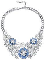Guess Imitation Rhodium Floral Pendant Statement Necklace