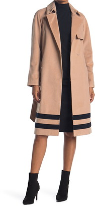 Rachel Roy Belted Wool Trench Coat With Stripes