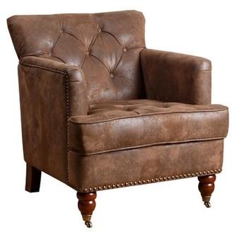 Mistana Aliya Club Chair Mistana Upholstery Color: Antique Brown