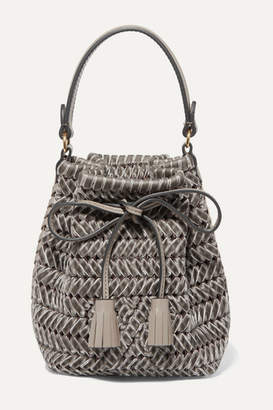 Anya Hindmarch The Neeson Mini Leather-trimmed Woven Velvet Bucket Bag - Gray