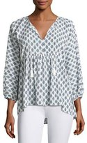 Soft Joie Ulyana Printed Gauze Peasant Top, White