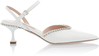 Miu Miu Embellished Patent Leather Kitten Heels