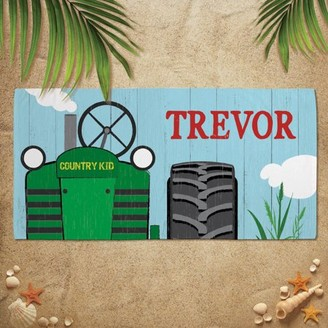 Personalized Planet Tractor Plush Kids Beach Towel