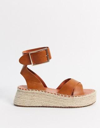 Glamorous espadrille platform sandal in tan