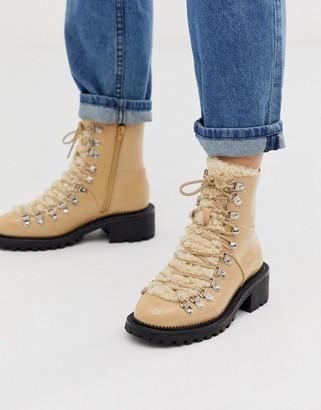 Asos Design DESIGN Amsterdam shearling hiker boots-Beige