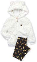 Juicy Couture Girls 4-6x) Two-Piece Faux Fur Zip-Up Hoodie & Foil Leggings Set