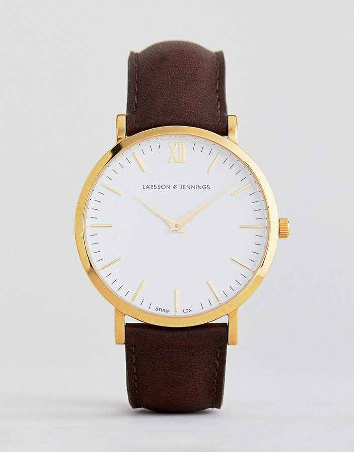 Larsson & Jennings Lugano leather watch in brown 40mm