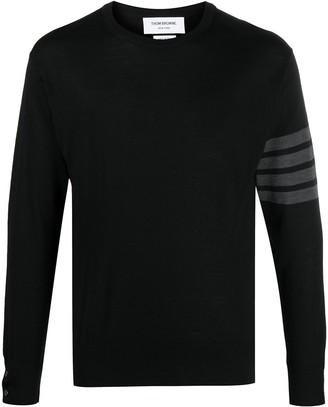 Thom Browne Classic Crewneck Pullover W/ Bar Stripe In Fine Merino Wool