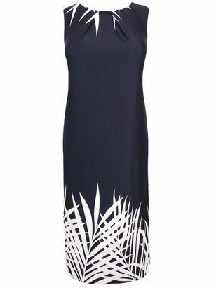 Generic Monochrome Sleeveless Abstract Palm Print Shift Maxi Dress (20) Black
