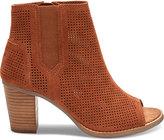 Toms Cinnamon Perforated Suede Women's Majorca Peep Toe Booties