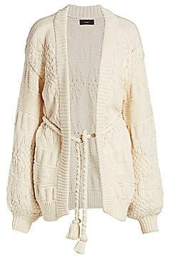 Alanui Women's Torchon Stitch Belted Cardigan