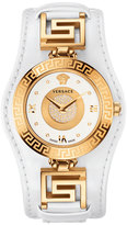 Versace 35mm V-Signature Watch w/ Pave Diamond Dial & Leather Strap, Golden/White