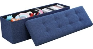 "Ornavo Home Posh Habitat by Ornavo Foldable Linen Tufted Large Bench Storage Ottoman - 15"" x 45"" x 15"""