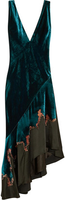 Haider Ackermann Kuiper Embroidered Velvet And Satin Midi Dress