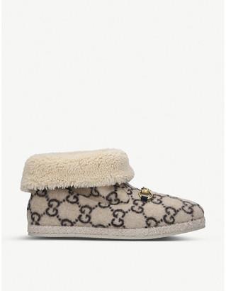 Gucci Fria Logo-Pattern Merino-Wool Ankle Boots, Size: 8 UK MEN