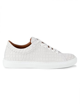 Aquatalia Alaric Crocodile-Embossed Leather Low-Top Sneakers