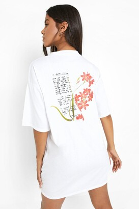 boohoo Floral Back Print Oversized T Shirt Dress