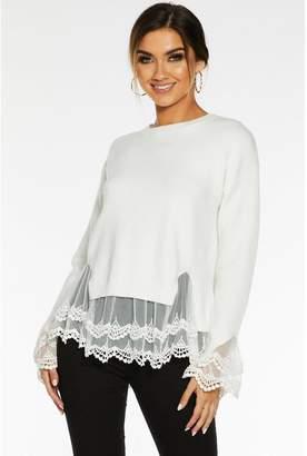 Quiz Cream Knit Lace Hem Jumper