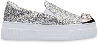 Miu Miu Glitter-Embellished Slip-On Sneakers