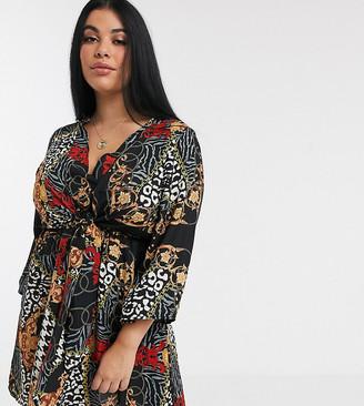 AX Paris Plus Plus knot front dress in scarf print