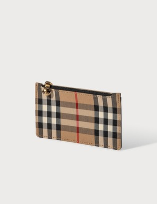 Burberry Vintage Check and Leather Zip Card Case