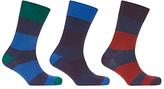 John Lewis Wide Rugby Stripe Socks, Pack Of 3, Blue/multi