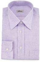 Brioni Button-Front Leisure Shirt, Lilac