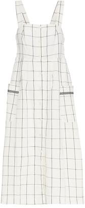 Cecilie Copenhagen Embroidered Checked Linen And Cotton-blend Midi Dress