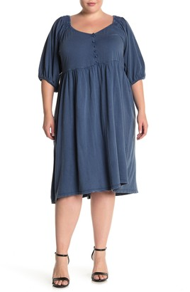 Susina Puff Sleeve Button Front Midi Dress (Plus Size)