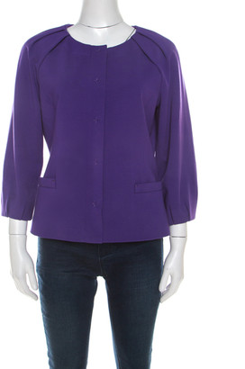 Elie Tahari Purple Stretch Knit Pleated Raglan Sleeve Fitted Blazer S