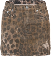 R 13 Leopard Print Mini Skirt