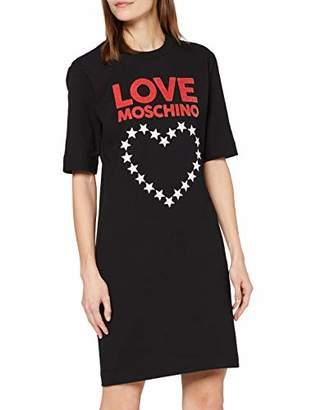 Love Moschino Women's Short Sleeve Stretch Fleece Logo & Stars Heart Print Dress,6 (Size: 38)