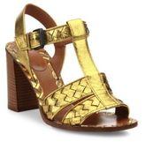 Bottega Veneta Intrecciato Metallic Leather T-Strap Sandals