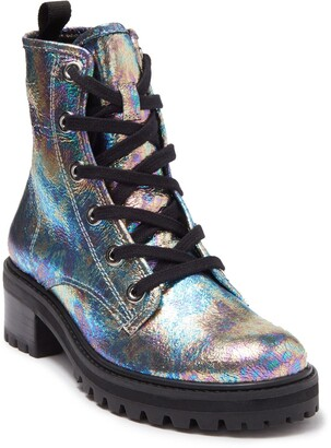 Schutz Stormy Holographic Leather Lace-Up Boot