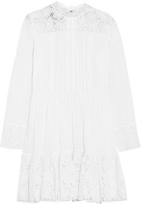 Valentino Pintucked Broderie Anglaise Cotton-blend Mini Dress