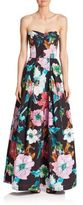 Milly Paper Floral Strapless Gown