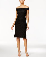 Adrianna Papell Off-The-Shoulder Velvet Beaded Dress