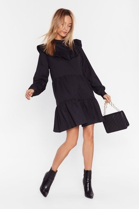 Nasty Gal Womens Frill There Be Tequila High Neck Mini Dress - Black - 8, Black
