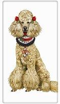 "Winter Holiday White Poodle Dog 100% Cotton Flour Sack Dish Tea Towel - Mary Lake Thompson 30"" x 30"""