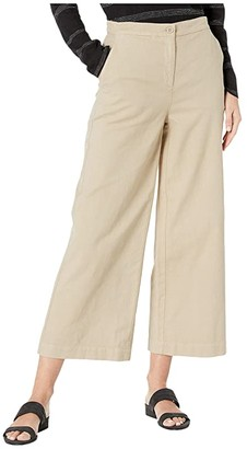 Eileen Fisher Organic Cotton Hemp Stretch Wide Leg Ankle Pants (Khaki) Women's Casual Pants