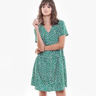 Le Temps Des Cerises Printed Short Dress with V-Neck