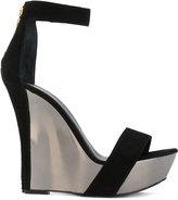Balmain metallic platform wedges - women - Leather/Suede/metal - 36