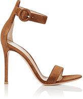 Gianvito Rossi Women's Portofino Suede Ankle-Strap Sandals-BROWN