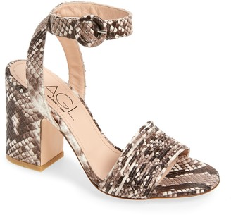AGL Snakeskin Embossed Leather Block Heel Sandal