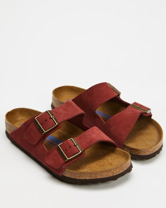 Birkenstock Red Flat Sandals - Unisex Arizona Nu Soft Oiled Sandals - Size 35 at The Iconic