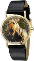 Whimsical Watches Kids' P0130079 Classic Airedale Terrier Black Leather And Goldtone Photo Watch